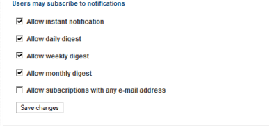 Configuration of notifications